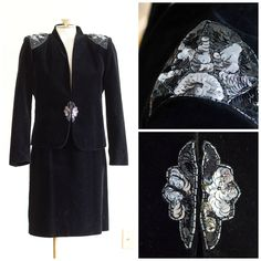 80s black velvet skirt suit from the Dynasty Collection by Nolan Miller by TimeTravelFashions on Etsy
