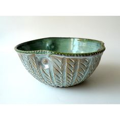 RESERVED Serving Bowl, Salad Bowl, Asymmetric Hand Carved Ceramic Bowl... ❤ liked on Polyvore featuring home, kitchen & dining, serveware, outdoor pots, white ceramic pot, glazed ceramic pots, outdoor serveware and white ceramic bowl