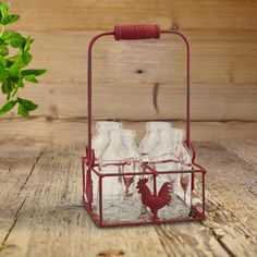 5 in. x 9 in. Small Milk Bottles in Metal Rooster Container with Wood Handle (Set of 4), Reds/Pinks