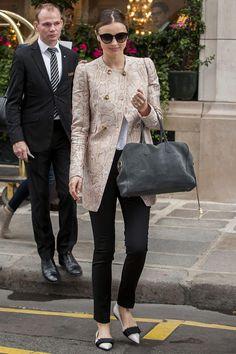 Miranda Kerr in Stella McCartney Cruise 2014 coat.