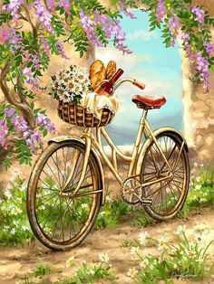 Bicycle and Flowers Painting - Paint by Numbers kit for Adults Fahrrad und Blumen malen - Malen nach Bicycle Painting, Bicycle Art, Bicycle Basket, Decoupage Vintage, Marco Diy, Illustration Blume, Paint By Number, Home Decor Wall Art, Vintage Images