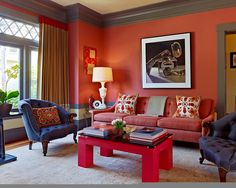 Eclectic Living Room Red Sofa Design, Pictures, Remodel, Decor and Ideas - page 3 love the red