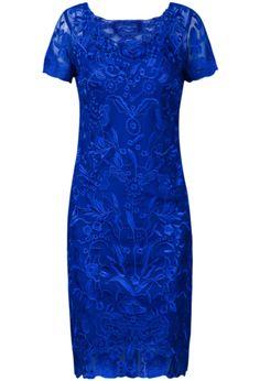 Blue Short Sleeve Embroidery Mesh Yoke Dress