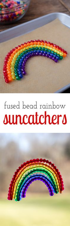 Fused Bead Rainbow Suncatchers are a vibrant fine-motor craft, perfect for teaching preschoolers colors and celebrating spring! via @https://www.pinterest.com/fireflymudpie/