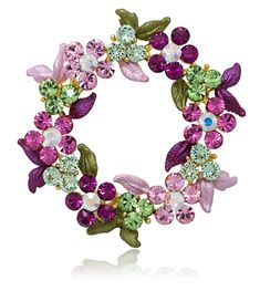 Gold-tone Swarovski Element Crystals Wreath Pin Brooch Mother's Day Pink - CQ12CW7DM69 - Brooches & Pins  #jewellrix #Brooches #Pins #jewelry #fashionstyle