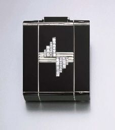 A RARE ART DECO DIAMOND AND ENAMEL VANITY CASE, BY OSTERTAG. Panel lifts to reveal a mirror and covered powder compartment, the black enamelled reverse panel reveals an open compartment, central panel lifting to reveal a watch, flanked by a sliding perfume holder, a sliding lipstick holder and comb, circa 1930
