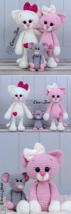 You will love these Amigurumi Cat Crochet Pattern Ideas that are perfect for beg. : You will love these Amigurumi Cat Crochet Pattern Ideas that are perfect for beginners! These cats are so simple to make and you'll love the video tutorial. Crochet Gratis, Crochet Amigurumi, Crochet Dolls, Free Crochet, Crochet Baby, Cat Crochet, Amigurumi Doll, Crochet Cat Pattern, Crocheted Toys