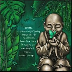 DREAM Stretch Wall Canvas Light Up LED Earthing Monk Buddha Art Lisa Pollock