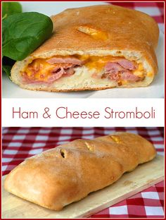 Ham and Cheese Stromboli - another delicious way to use the leftovers from a baked ham dinner that the whole family will love. You can even freeze half the stromboli dough for later use.