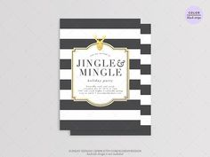 Black Stripe Christmas Party Invitation  DIY by SundayDesign