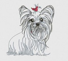 Yorkshire Terrier Puppy with Red Bow Embroidered Shirt, Yorkie Dog Shirt, Custom Machine Embroidery, Yorkshire Puppy by MyBirthdayShirtShop on Etsy Yorkies, Yorkie Dogs, Toy Yorkshire Terrier, Yorkshire Terrier Puppies, Terrier Dogs, Hand Embroidery Patterns, Machine Embroidery Designs, Embroidery Thread, Embroidery Jewelry