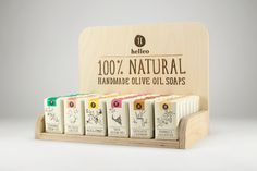 Helleo natural soaps. Six organic, handmade soaps, all containing extra virgin olive oil and lots of hard work. When we designed the packaging we used rough, yet delicate lines to indicated the basic ingredients of every soap. Then we decided that every…