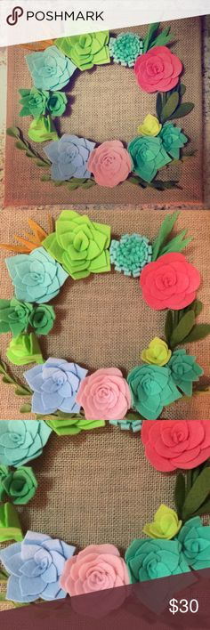 """Handmade felt succulent flower wall decor❤︎ Handmade felt flower & succulent plants wall decor.  Canvas is 12 x 12"""".  Perfect for rustic home, office or shop wall decoration or house warming, wedding, or anniversary gift!  I can also make flowers with colors you like.  Check my list to see more options!   Tag: water paint color, pastel color flower arrangement, mint green & pink, blue, succulent wreath Other"""