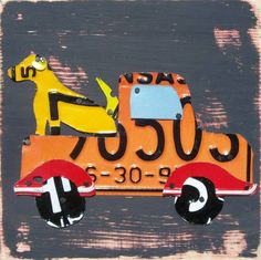 License Plate Art - Farm Dog in Transportation Truck - Recycled Art Company - Salvaged Wood - Upcycled Artwork. $85.00, via Etsy.