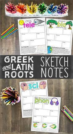 and Latin Roots Sketch Notes: Book 1 Greek and Latin sketch notes are the perfect way to build vocabulary! BONUS—your students will love them too!Greek and Latin sketch notes are the perfect way to build vocabulary! BONUS—your students will love them too! 4th Grade Ela, 6th Grade Reading, Middle School Reading, Middle School English, Middle School Science, Vocabulary Instruction, Teaching Vocabulary, Teaching Writing, Teaching English