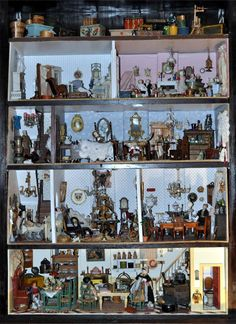 GALLERY of IMAGES ~ antique dollhouses & furnishings, farm buildings & animals, and misc. toy buildings, by Jennifer McKendry