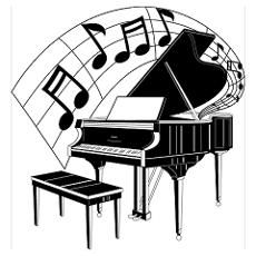 Woman grand piano notes cartoon piano clip art free for How much space does a baby grand piano need