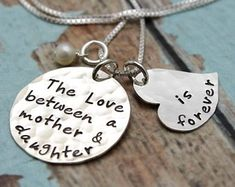 Personalized Hand Stamped Jewelry Custom by TracyTayanDesigns #thelovebetweenamotheranddaughterisforever #tracytayandesigns #handstampedjewelry #mothernecklace