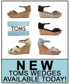 Foto: NEW SPRING TOMS WEDGES ARE IN AT PENELOPE!  TOMS Spring Wedges are here! As well as new styles of Ballet Flats, Classics, Sandals, and much more! Come and see the entire collection at Penelope in Lynchburg, Forest, Daleville, Farmville, Virginia Center, and Midlothian today!