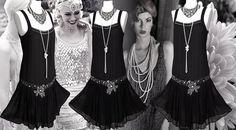 20er Jahre Seide verschönert bestickten Perlen paillettenbesetztem pBLACK Flapper, die Charleston Art Deco große Gatsby Rüschen-Kleid Größe UK 10 US 6