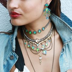 Summer is for Swarovski & Opals. #LionetteNY #Lionette #Layers #RothschildChoker #PalermoNecklace #VirginiaNecklace #AlbaPendant #SevillaEarrings #Choker #Necklace #Pendant #Palermo #Virginia #Alba #Rothschild #Sevilla #Opals #SwarovskiCrytals #Swarovski #Crystals #Layering #Icy #Ice #TribalVibes #WomensFestivalLooks #WomensTribalOutfit