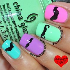 More cute moustache nails! Love Nails, How To Do Nails, Pretty Nails, Fun Nails, Mustache Nail Art, Moustache, Nailart, Cute Nail Art, Cute Nail Designs