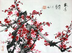 Maolin Zhang's Chinese Painting Exhibition at West Windsor Library, July 1 - 2003 Chinese Cherry Blossom, Cherry Blossom Flowers, Pink Blossom, Peach Blossoms, Japanese Painting, Chinese Painting, Chinese Art, Chinese Brush, Oriental