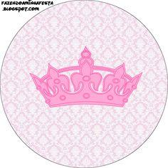 Rótulos para: Latinha,Gelatina,Tampinhas,Adesivos,Marmita Redonda e Toppers Cupcakes  Coroa de Princesa Provençal: