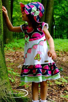#Trägerkleid von #Klimperklein #Jerseyhut #Konfettipatterns #Geburtstagskleid  #stickdatei