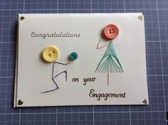 Button engagement card. Engagement Cards, Greeting Cards Handmade, Card Ideas, Button, How To Make, Stuff Stuff, Buttons