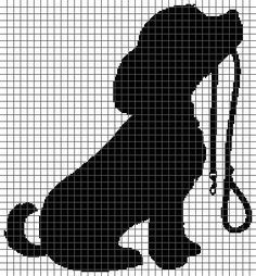 Dog with Leash (Graph AND Row-by-Row Written Crochet Instructions) - 03 - Knitting Projects Cross Stitching, Cross Stitch Embroidery, Embroidery Patterns, Hand Embroidery, Knitting Charts, Knitting Patterns, Crochet Patterns, Loom Patterns, Crochet Stitches