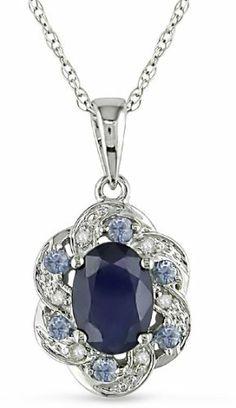 10K White Gold Multi-Color Sapphire Flower Pendant Amour. $169.99. Save 50%!