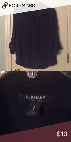 Navy Blue Old Navy Quarter Sleeve Shirt Navy blue quarter sleeve shirt. Silky material. Size Small Old Navy Tops Blouses