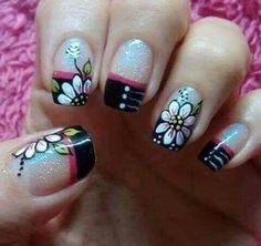 395 Mejores Imagenes De Unas Cortas Flores Manicure Cute Nails Y