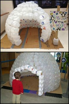 This igloo made from repurposed milk jugs will keep the kids entertained for hours at a time!