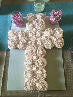 Baptism, communion, confirmation cross cupcake cake - My WordPress Website Baptism Party Girls, Baptism Food, Baptism Desserts, Baptism Cupcakes, Catholic Baptism, Baby Girl Baptism, Baptism Ideas, Baptism Cross Cake, Baptism Party Decorations