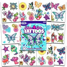 Savvi Glitter Tattoos ~ 50 Dazzling Designs ~ Hearts, Butterflies, Flowers, and More! -- Learn more by visiting the image link. (This is an affiliate link) #NoveltyGagToys