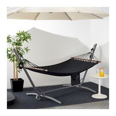 GÅRÖ / FREDÖN grey, beige, Hammock with stand. The hammock gently rocks you into a state of harmony and relaxation. Whether mounted between two trees or using GÅRÖ hammock stand you can hang loose until it's time for your next chore. Indoor Hammock Bed, Baby Hammock, Hammock Stand, Terrazas Chill Out, Tv Ikea, Kayak Storage Rack, Ideas Hogar, Patio Design, Living Room Chairs