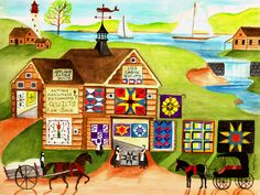 vintage folk art/tramp art designs | Log Cabin Antique Quilts and Sampler Folk Art Print
