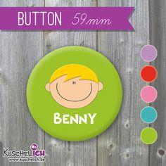 Buttons - XL Button ♥ Wunschgesicht & Name - ein Designerstück von KuschelICH bei DaWanda