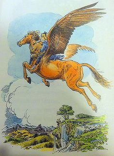 Diggory & Polly on the winged horse Fledge, The Magician's Nephew, C.S. Lewis