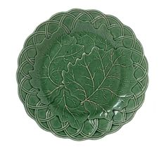Plate, Earthenware plate with an all-over green glaze and relief moulded leaf and basket-weave pattern, 'R & G Gordon' and a crown impressed on the base, from Prestonpans, East Lothian, c. 1825