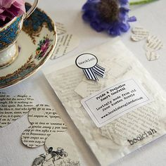 "Bookish England Pride And Prejudice Confetti: Bookish England ""Pride & Prejudice"" Heart Confetti. Gorgeous confetti hearts, handmade from damaged copies of old Jane Austen novels. They look beautiful scattered over dinner tables or thrown at a wedding."