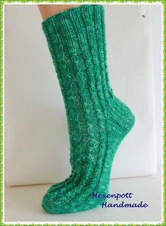 Socken -  Socken handgestrickt SMARAGD Gr.40 - ein Designerstück von Hexenpott bei DaWanda