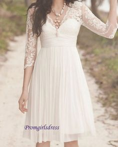 Lace Wedding Dress Short Wedding Dress Long by Promgirlsdress, $156.00
