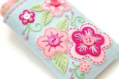 fabric case with felt flowers