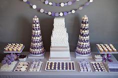 purple dessert bar.  Marshmallow pops, cupcakes, baklava, cookies, candies, krispies.