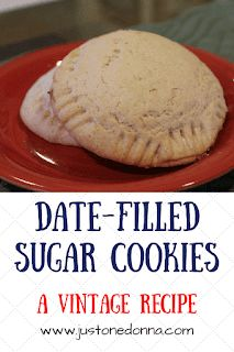 These date-filled sugar cookies are from an old-fashioned recipe, but are still perfect for today. Holiday Cookie Recipes, Cookie Desserts, Dessert Recipes, Finger Desserts, Cookie Favors, Cookie Ideas, Pudding Recipes, Raisin Filled Cookies, Date Cookies Filled