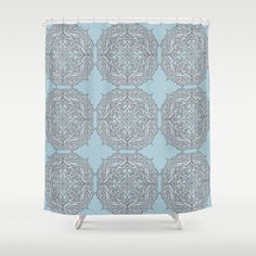 Blue pattern Shower Curtain soft blue and by ArtfullyFeathered
