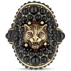 Gucci Feline Ring With Black Resin Beads (2,020 MYR) ❤ liked on Polyvore featuring jewelry, rings, gucci jewelry, gucci jewellery, gucci ring, gucci and bead jewellery